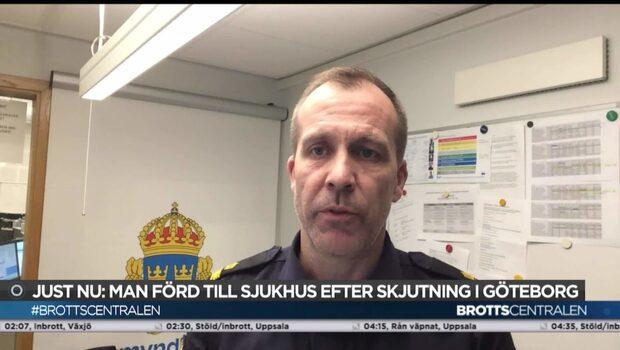 Man förd till sjukhus efter skjutning i Göteborg