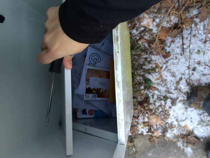 """Susanna hämtade skruvmejseln och bände upp """"golvet"""" i den stora brevlådan. Det visade sig att all post hade ramlat ner där under och samlats i en hög. Foto: Privat"""