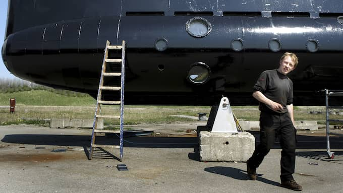 Danska forskaren Peter Madsen skulle ha visat upp sin ubåt på Bornholm under fredagen. Men under torsdagskvällen skickade Madsen ett sms till sin kollega där han sa att det var inställt. Någon förklaring fick inte kollegan. Foto: HOUGAARD NIELS /AP/ TT