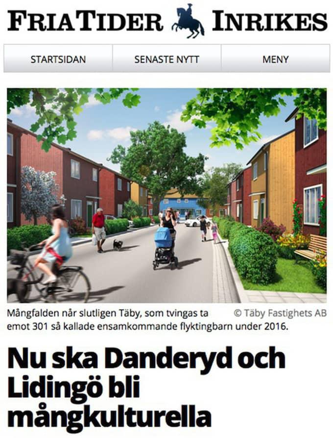 """FRIA TIDER Hatsajten Fria tider om att välmående kommuner som Danderyd, Täby och Lidingö ska tvingas ta emot ensamkommande flyktingbarn och """"fyllas med tusentals unga män från tredje världen"""""""