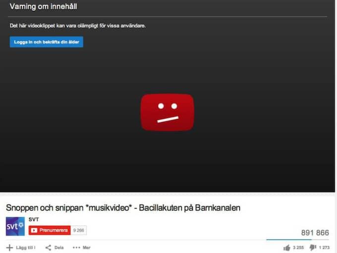 Så här ser det ut när man försöker titta på snippa- och snopplåten på Youtube.