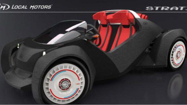 Strati, vinnaren i desigtävlingen. Nu blir detta världens första bil som bytts med 3D-skrivare.