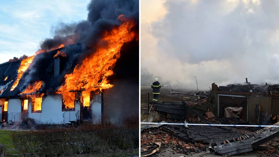 Storbrand rasade i radhus