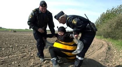 Striden om GMO går in i en ny fas när nu EU-kommissionen vill överlåta rätten att tillåta grödorna till varje enskilt medlemsland. Här omhändertar polis en Greenpeace-aktivist vid en aktion mot genmodifierad raps 2002. Foto: Stefan Lindblom/ Hbg-Bild